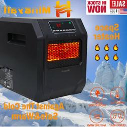 1500W 4Quartz Space Heater Infrared Electric Heater LED Safe