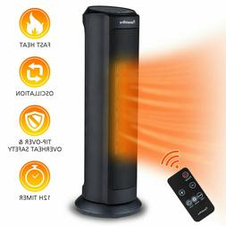 1500W Electric Ceramic Heater Portable Remote Control 12H Ti