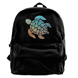 AHOOCUSTOM Space Watercolour Turtle Canvas Shoulder Backpack