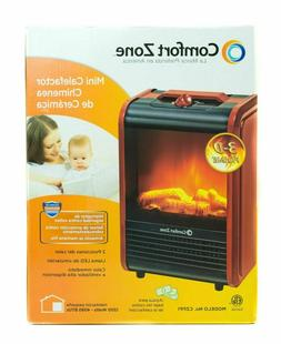 COMFORT ZONE CZFP1 CERAMIC ELECTRIC FIREPLACE STOVE FAN-FORC