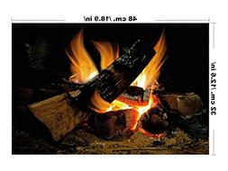 Decorative Fire, Vintage Fake Burning Logs, Wall Art Interio