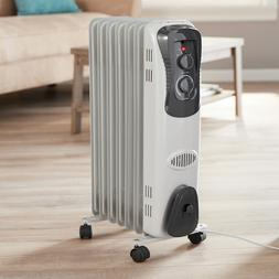 Electric Oil Filled Radiator 1500W Space Room Heater 6-Fin T