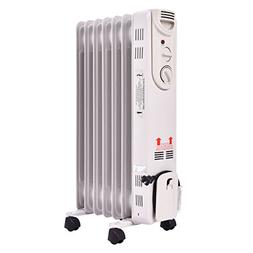 NEW White 1500W Electric Oil Filled Radiator Space Heater 5-