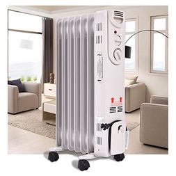 Electric Oil 1500W Filled Radiator Space Heater 5-Fin Thermo