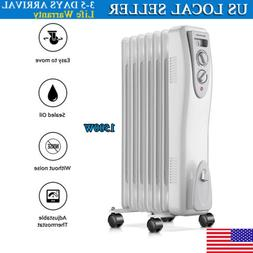 Electric Oil Filled Radiator Space Room Heater Adjustable Th
