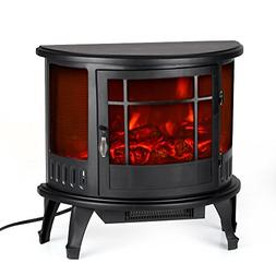 Electric Stove Fireplace Heater Free-Standing Fire Flame Adj