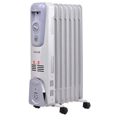 1500W Electric Filled Radiator Space Heater 7-Fin Thermostat Room