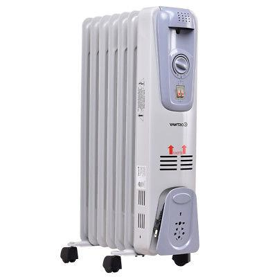 1500W Oil Filled Radiator Space Heater Thermostat Room Radiant