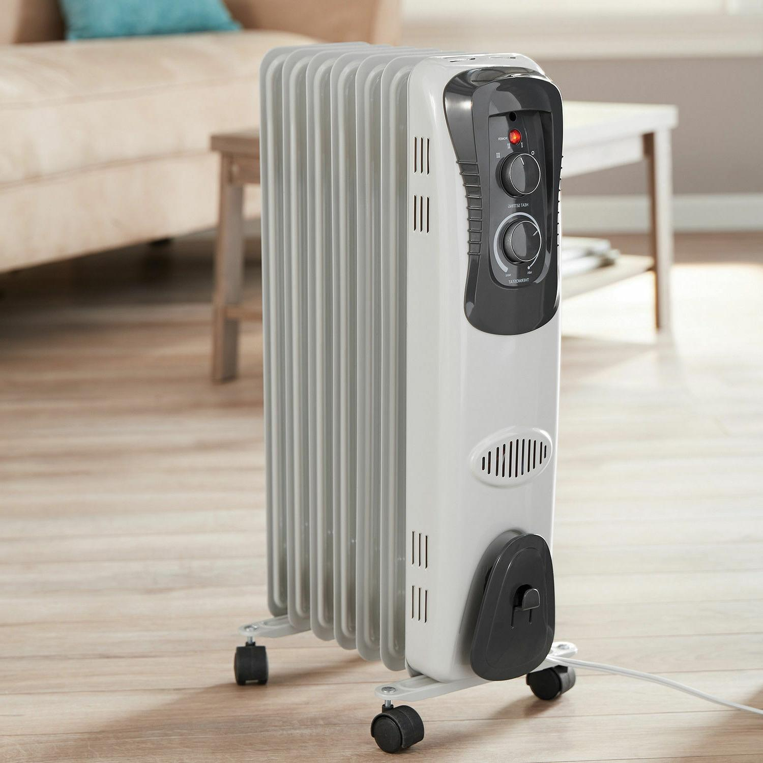 1500W Electric Oil Filled Radiator Space Room Heater 6-Fin T