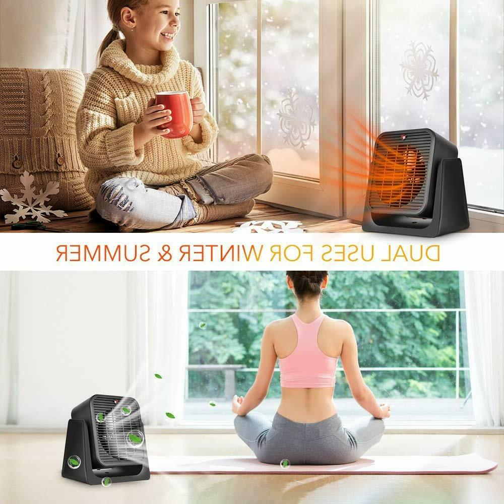 2 in1 Portable Space Heater - Quiet Ceramic Fan Fast