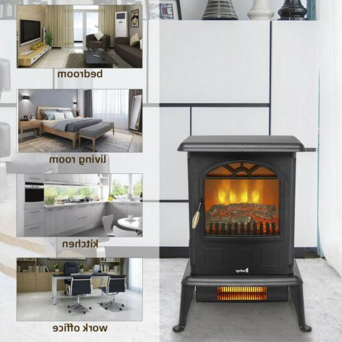 1500W Space Heater Flame Stove Home US