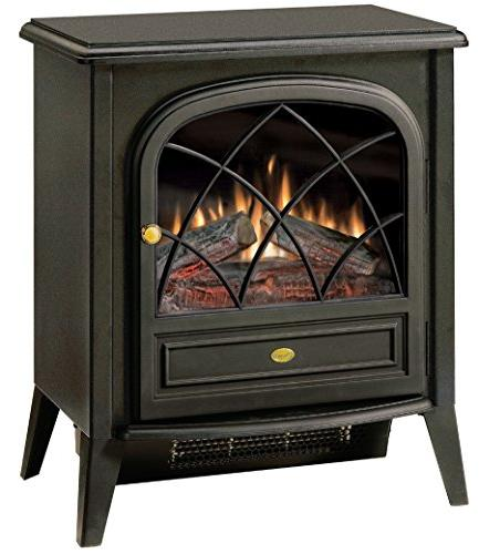 black electric flame stove
