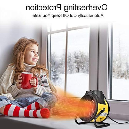TRUSTECH Ceramic, Adjustable 750W 1500W Heater with Hot Cool Fan, Energy-Saving for for Workplace Home Yellow