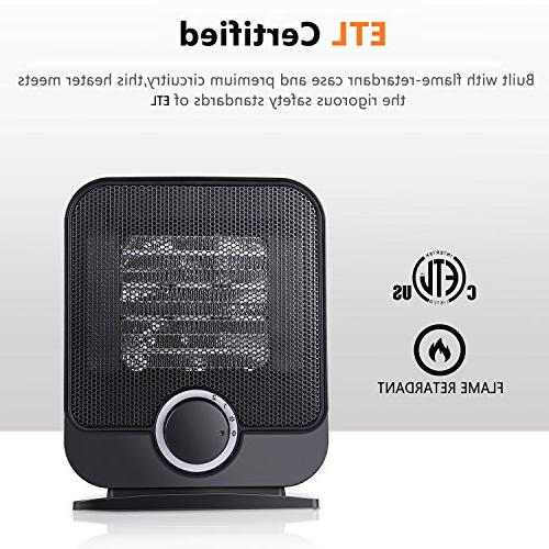 Ceramic Space Heater, Personal Electric Small Desk 3 Setting, and Tip-Over Protection,1500W Mini Office Floor