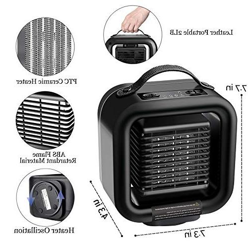 KNGUVTH Ceramic Heater, Portable Heater Ceramic Electric Fan Oscillating Space with Tip-Over Protection