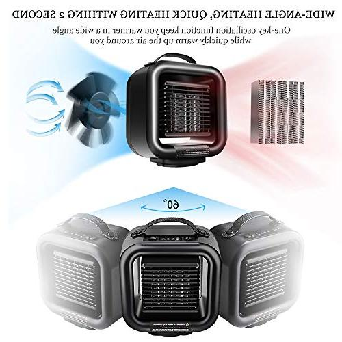 KNGUVTH Ceramic Heater, Portable PTC Ceramic Electric Fan Oscillating with Protection Office/Indoor/Home
