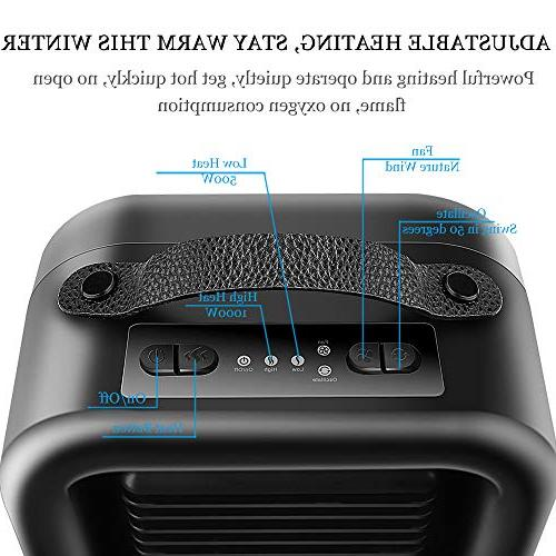 KNGUVTH Portable Heater PTC Ceramic Electric Fan with Tip-Over and Protection for Office/Indoor/Home