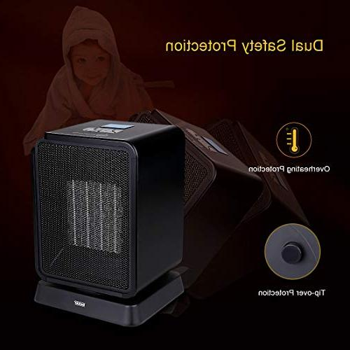 SARKI Ceramic Space Electric Safe LCD Oscillating Mini Heater Indoor Use Adjustable Thermostat, Timer Portable 1500W
