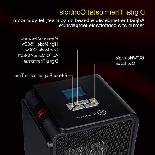 SARKI Ceramic Electric Safe LCD Heater Use Adjustable Programmable Timer Portable Heater 1500W