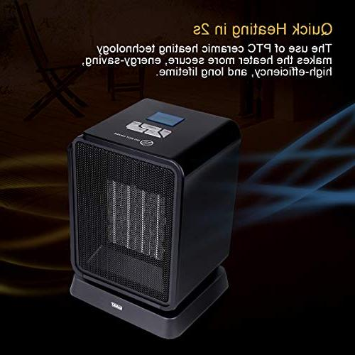 SARKI Space Heater, Electric LCD Display, Oscillating Heater Indoor Adjustable Thermostat, 8-Hour Timer 1500W