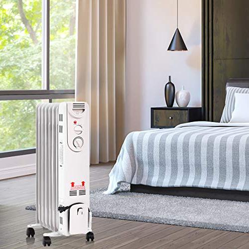 Tangkula Oil Radiator, 1500W Portable Compact Heater with Adjustable Protection, Filled Radiator and