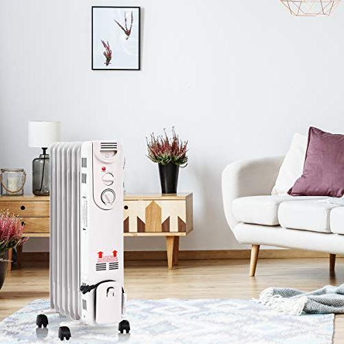 Tangkula 1500W Portable Heater Tip and Protection, Quiet Safe Filled Radiator for Home and Oil Heater