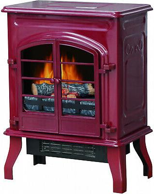 Electric Space Heating Settings Fireplace Freestanding Red