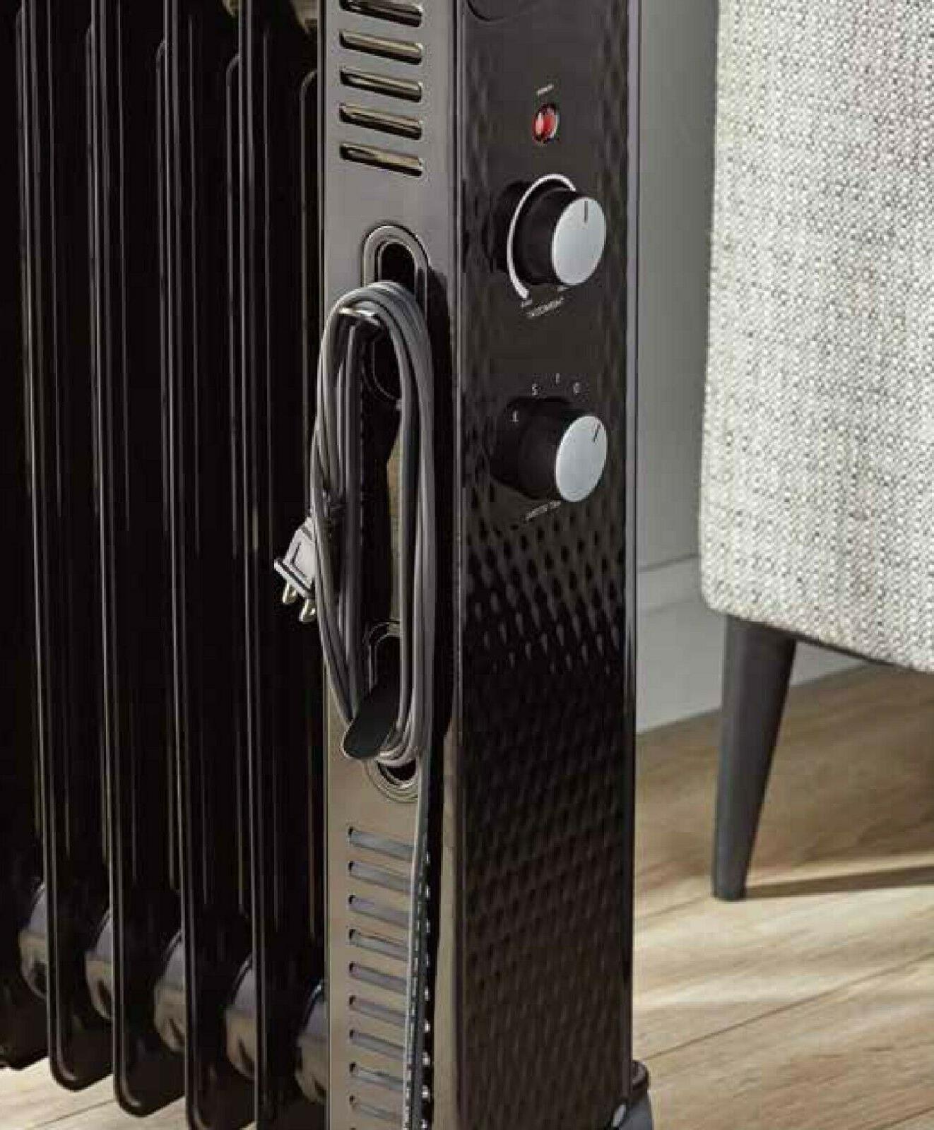 Electric Space Heater Oil Portable Floor Black