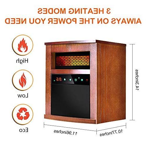 Air Choice Electric Space Heater 1500W Infrared with 3 with Overheat & Tip-Over Wood Brown