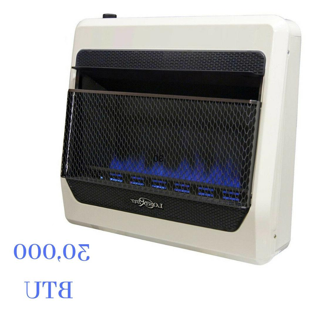 Indoor 30000 BTU Natural Gas Blue Flame Vent Free Thermostat