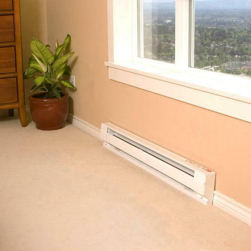 "Large 48"" White Baseboard 1000W Quiet Warmer"