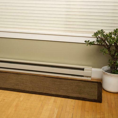 "Large 48"" White Electric Baseboard Heater Quiet Bedroom"