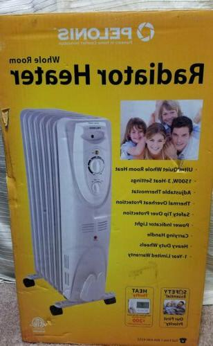 Large Electric Oil-Filled White Radiator Heater 1500 W - Pel