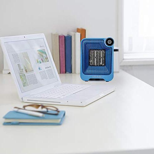 AirArtDeco Ceramic Heater, 500W Portable Fan Heater, Heater, Over-heat Tip-over Use, Blue/Black