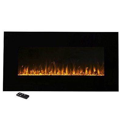 Modern Design Wall Mounted Electric Fireplace Wide Black Gla
