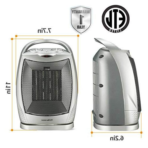 Warmtec 1500W Ceramic Space Heater with Thermostat,Portable Electric Heater Fan with Carry Handle