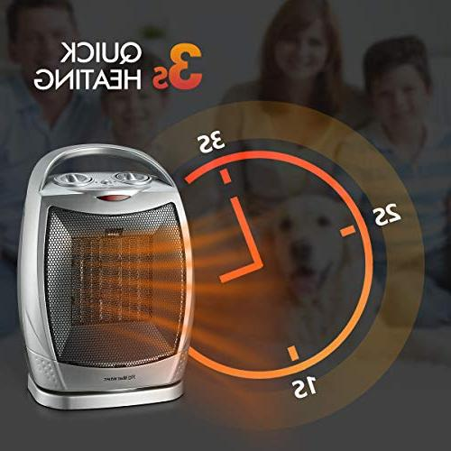 Warmtec Oscillating Ceramic Space Heater with Thermostat,Portable with Overheat and Carry