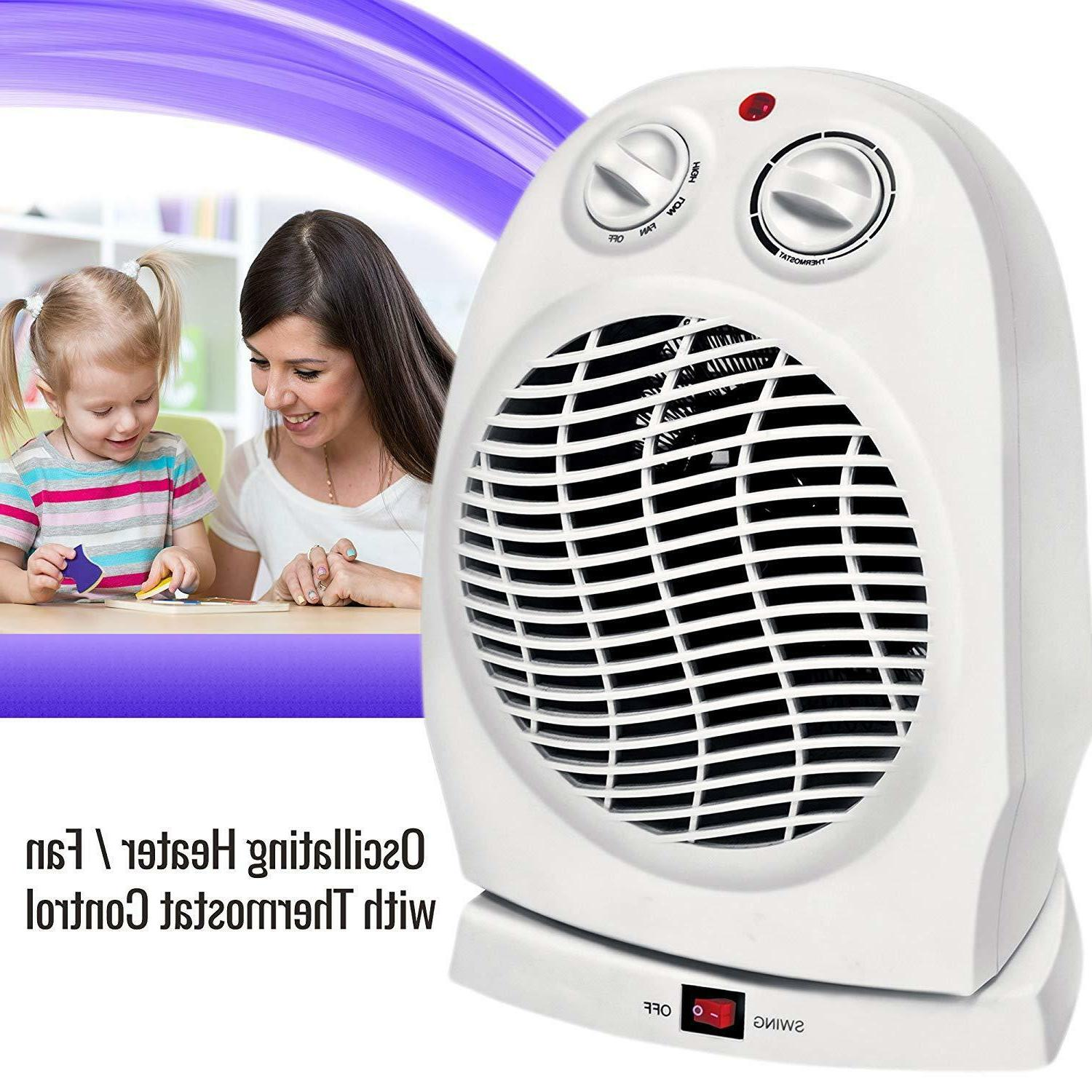 Oscillating Compact Space Heater Fan Portable