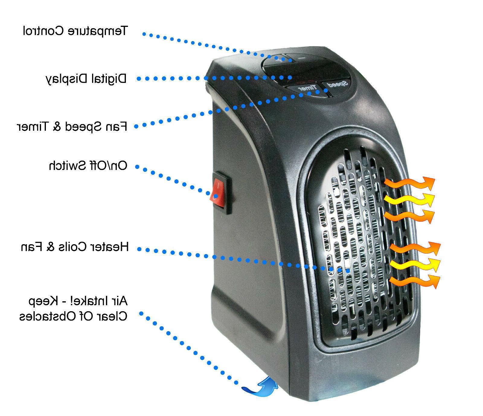 Portable Wall Space Heater 400W Digital