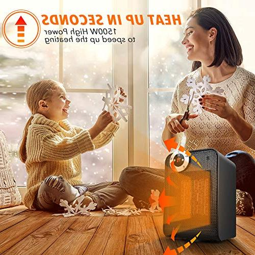 TRUSTECH Ceramic Heater, with Adjustable Thermostat, Overheat & Tip-Over Protection, Oscillation Home 12h Display,
