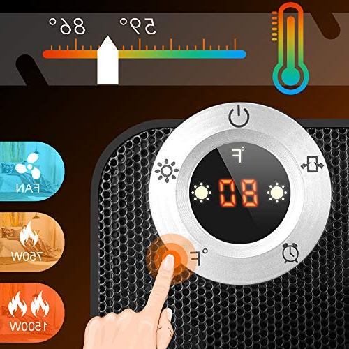 TRUSTECH Heater, Thermostat, & Protection, Oscillation Home Timer, Digital Display,