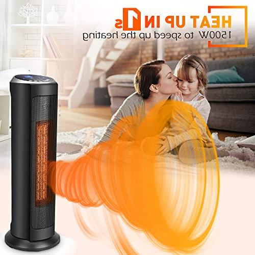 TRUSTECH Portable Heater w/Remote, Overheating Protection Adjustable Thermostat, 8H Timer, Home Office 24-inch, Black