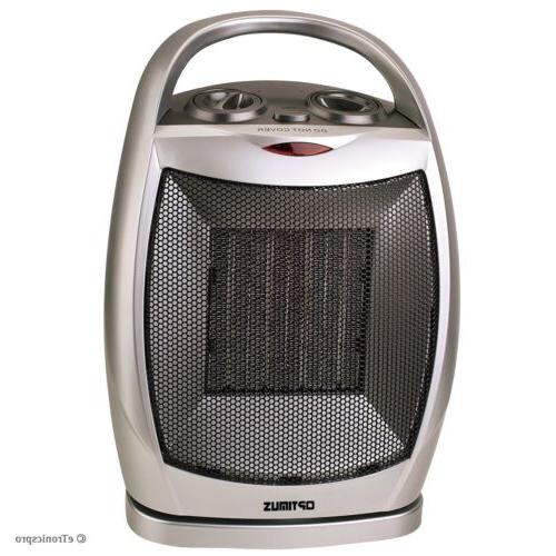 OPTIMUS PORTABLE OSCILLATING CERAMIC SPACE HEATER w/THERMOST