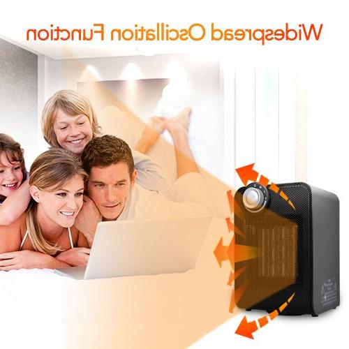 Portable Ceramic Heater, 1500W Heating with Oscillating Function, Overheating Tip-Over Office Home Small Rooms