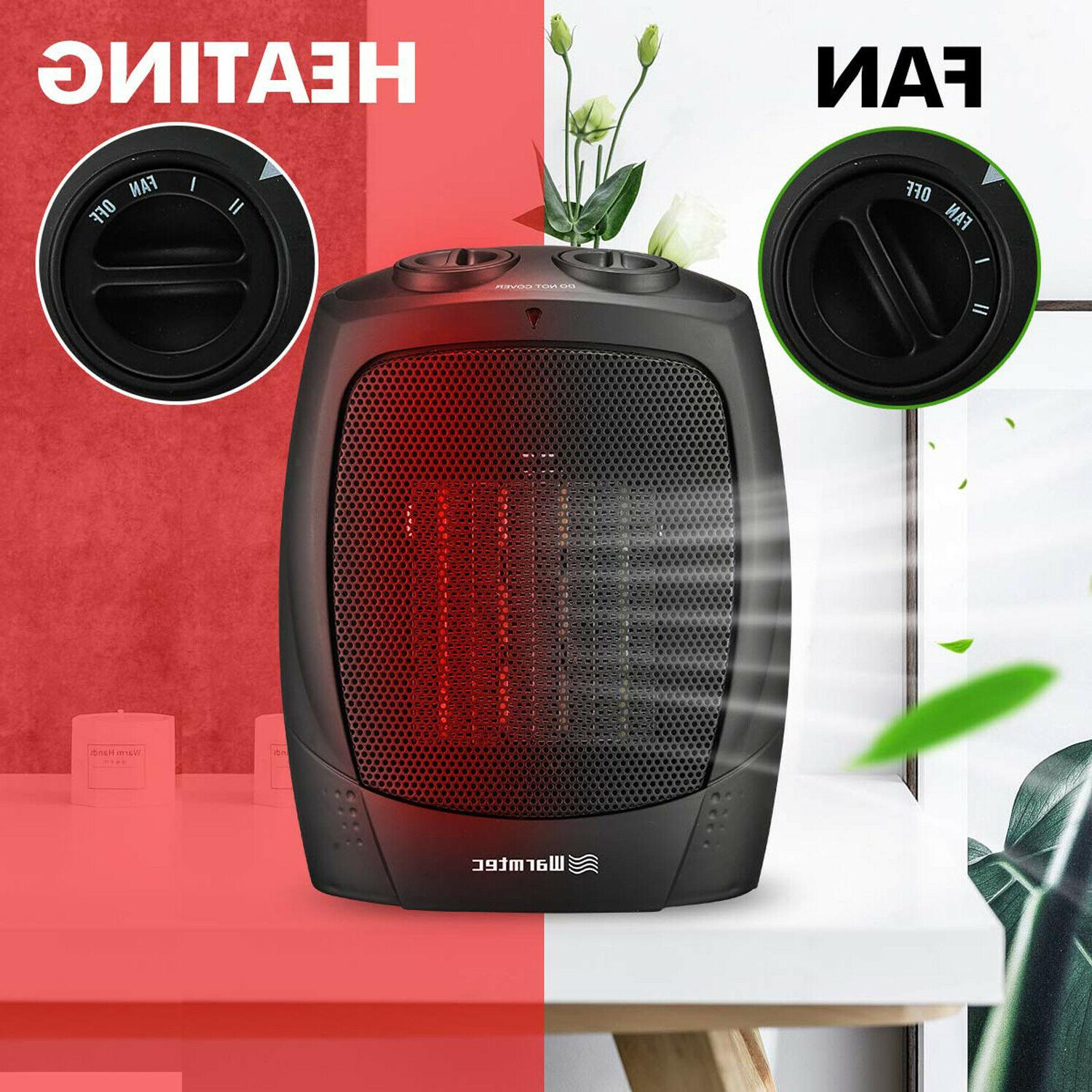 Portable Space Heater Mini Electric Adjustable Thermostat Fan