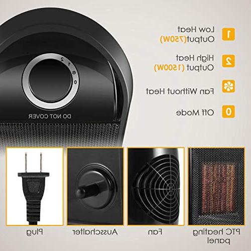 1500W Heat Space Heater with Tip Switch