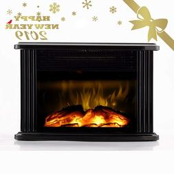 Mini Electric Fireplace Tabletop Floor Portable Room Office