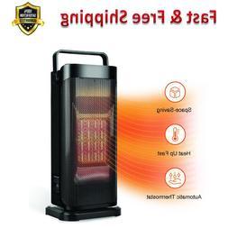 Oscillating Ceramic Space Heater Adjustable Thermostat Black