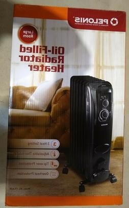 Pelonis, Oil Filled, Electric Radiant Space Heater, Black, #