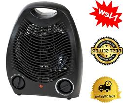 Portable Black Space Heater Compact Home Office Quiet, Adjus